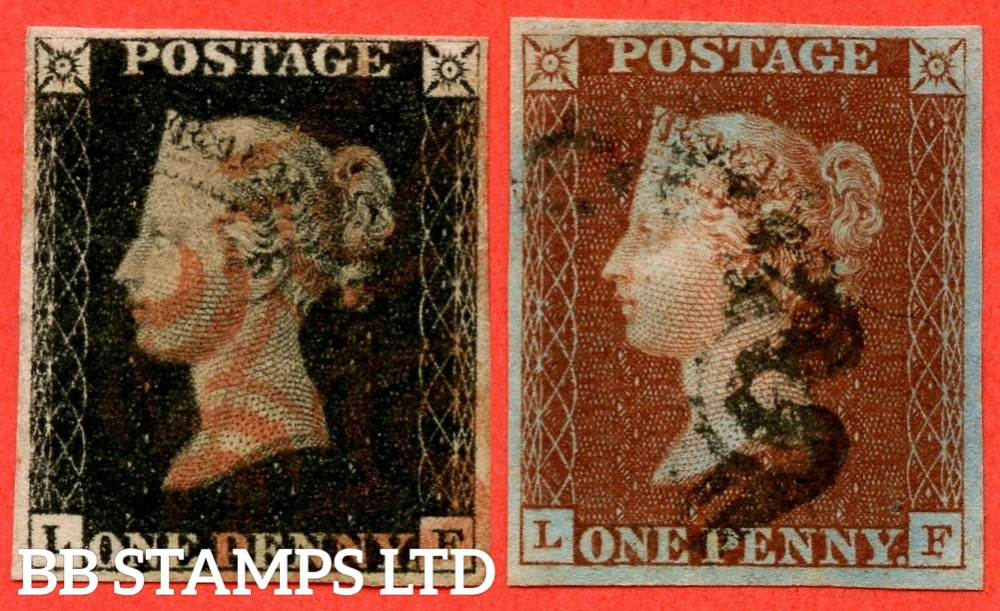 "SG. 2 & 7. A1 (2) & A2. AS25 & AS26. "" LF "". Plate 5. A fine used matched pair with the "" Dots on lower margin. One below SE square and one below ' Y ' of ' PENNY ' variety."