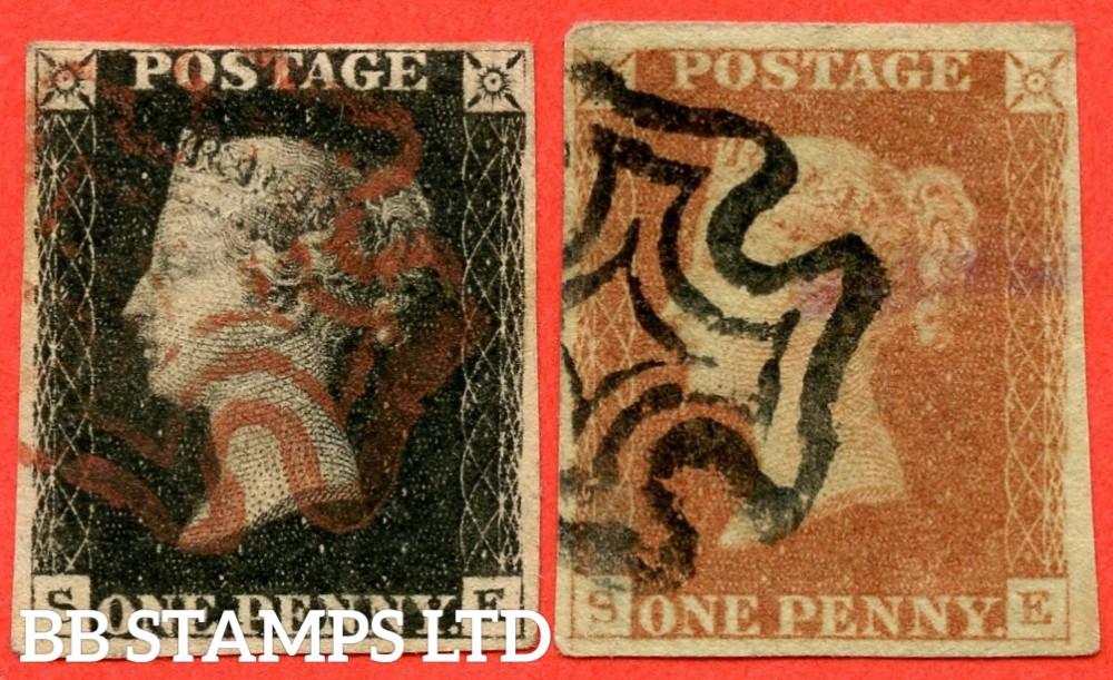"""SG. 2 & 7. A1 (2) & A2. AS25 & AS26. """" SE """". Plate 5. A good used matched pair with the """" Bottom line extends left and right. Right side line extends belowe """" variety."""