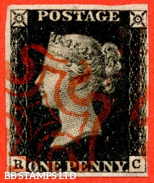 """SG. 2. A1 (2). AS25. """" RC """". 1d black. Plate 5. A very fine used example cancelled by a red maltese cross. With the """" Mark in NW square """" variety."""