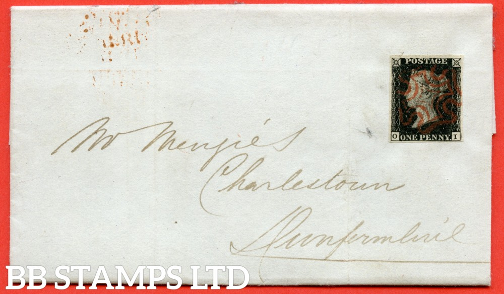 """SG. 2. A1 (2). AS25. """" OI """". 1d black. Plate 5. A very fine used example on cover from EDINBURGH to CHARLESTOWN dated 9th November 1840. With the """" Marks to right of SE square """" variety."""