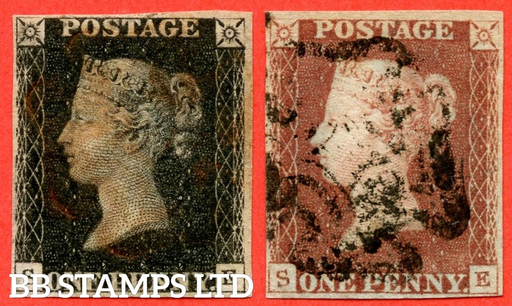 "SG. 2 & 7. A1 (2) & A2. AS25 & AS26. "" SE "". Plate 5. A good used matched pair with the "" Bottom line extends left and right. Right side line extends belowe "" variety."