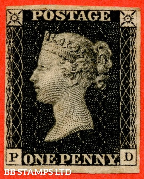 """SG. 2c. A1 (2)h . AS25. """" PD """". 1d black. Plate 5. A fine mounted mint example with the listed variety """" Horizontal guide line SE square """" variety. Complete with RPS certificate."""