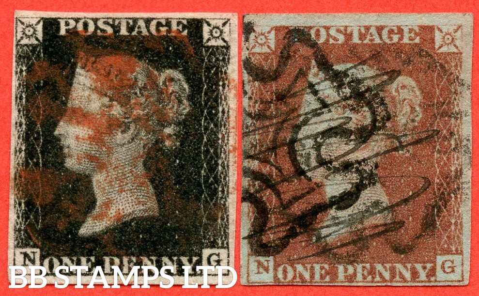 "SG. 2 & 7. A1 (2) & A2. AS25 & AS26. "" NG "". 1d black. Plate 5. A good used matched pair. With the "" left side line extends below "" variety."