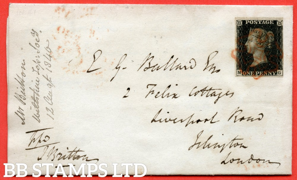 """SG. 2. A1 (2). AS25. """" MG """". 1d black. Plate 5. A fine used example on cover from MARGATE to LONDON dated 11th August 1840."""