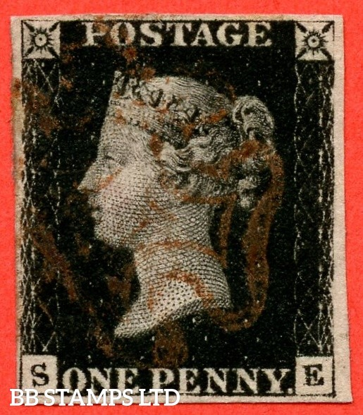 "SG. 1. A1 (1). AS24. "" SE "". 1d intense black. Plate 5. A fine used example cancelled by a red maltese cross with the "" Bottom line extends left and right. Right side line extends belowe "" variety."