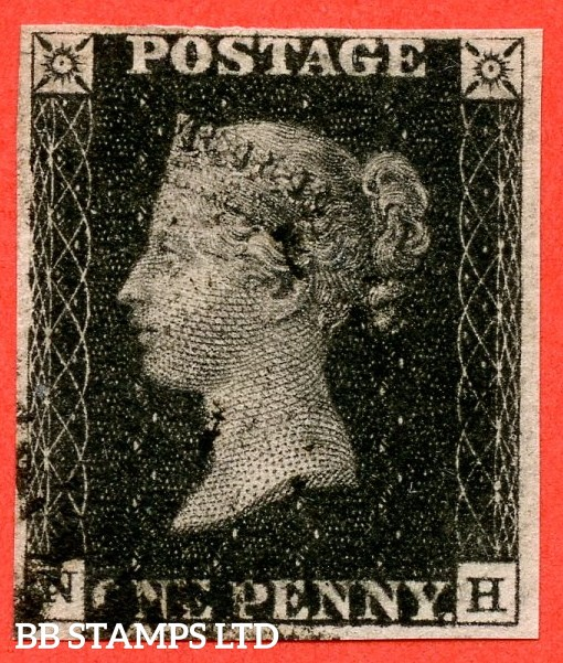 """SG. 2. A1 (2). AS25. """" NH """". 1d black. Plate 5. State 1. A very fine used example with the """" Short horizontal scratch in left margin outside NW square and burr rub over ' GE ' of ' POSTAGE ' """" varieties. A lovely clear profile."""