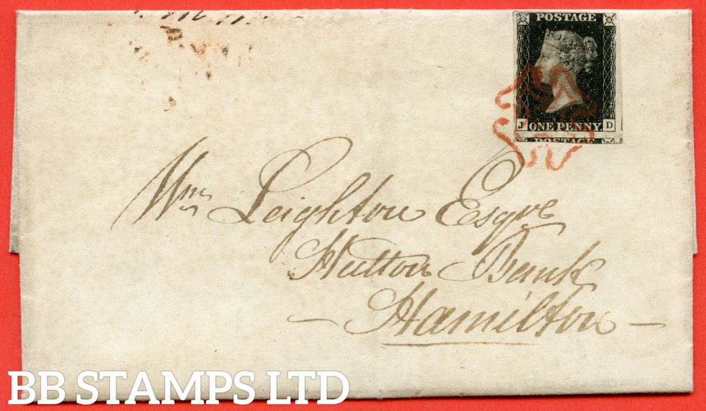 "SG. 2. A1 (2). AS25. "" JD "". 1d black. Plate 5. A very fine used example on cover from EDINBURGH to HAMILTON dated 21st September 1840."