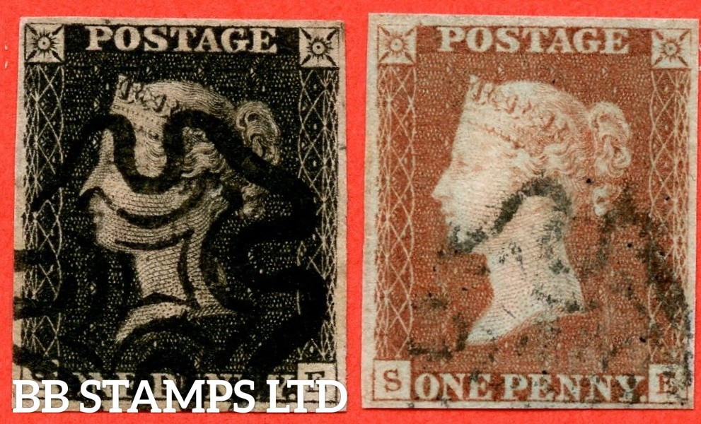 """SG. 2 & 7. A1 (2) & A2. AS25 & AS26. """" SE """". Plate 5. A very fine used matched pair with the """" Bottom line extends left and right. Right side line extends belowe """" variety."""