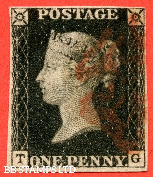 """SG. 2. A1 (2). AS41. """" TG """". 1d black. Plate 6. A fine used example cancelled by a red maltese cross. With the """" Short vertical mark in SW square """" variety."""