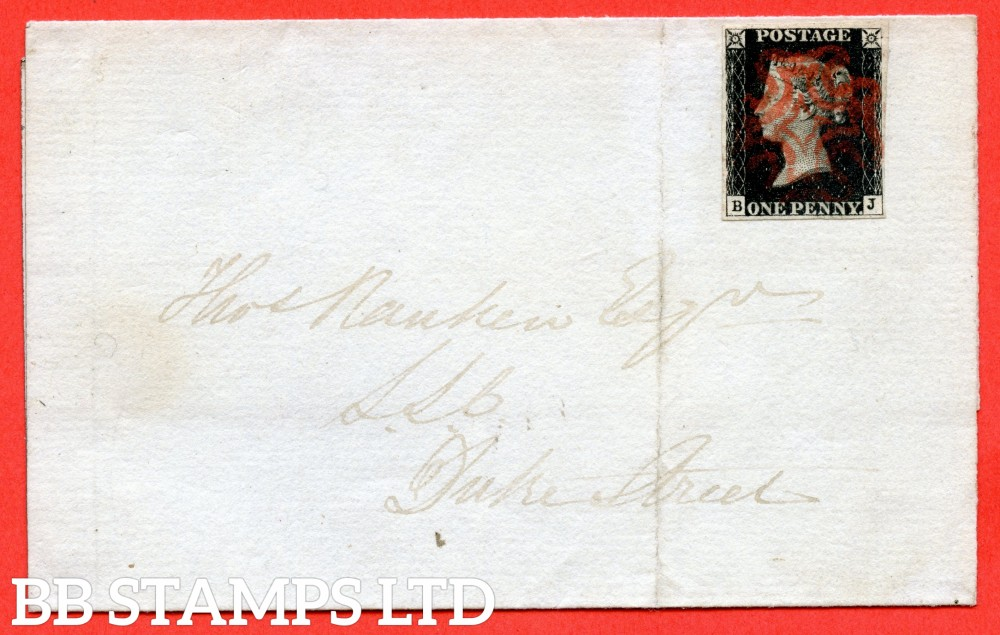"""SG. 2. A1 (2). AS41. """" BJ """". 1d black. Plate 6. A very fine used example on cover used in EDINBURGH dated 26th November 1840. With the """" Scattered dots in and outside corner squares """" variety."""