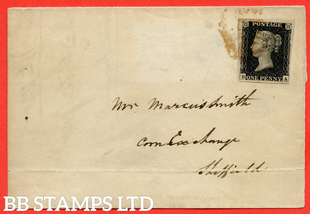 """SG. 2. A1 (2). AS41. """" BA """". 1d black. Plate 6. A good used example on cover from LEEDS to SHEFFIELD dated 13th November 1840. With the """" Short mark in upper margin above ' GE ' of ' POSTAGE ' """" variety."""