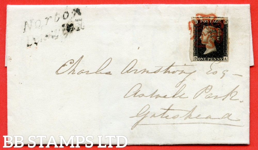 "SG. 2. A1 (2). AS41. "" DA "". 1d black. Plate 6. A very fine used example on cover from NORTON to GATESHEAD vis STOCKTON dated 22nd January 1841. With the "" Short horizontal mark in upper margin "" variety."