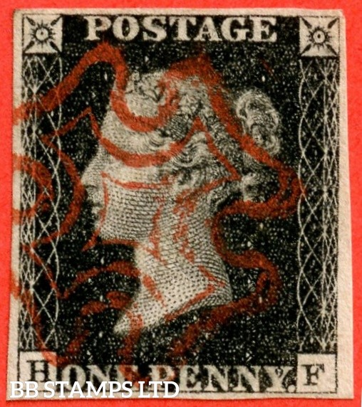 "SG. 2. A1 (2). AS41. "" HF "". 1d black. Plate 6. A very fine used example cancelled by a red maltese cross."