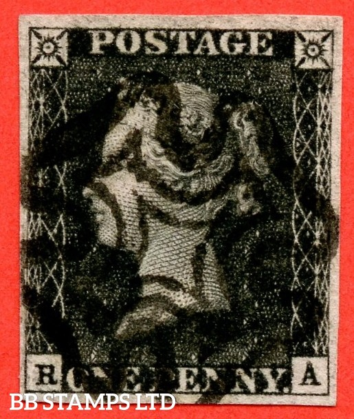 """SG. 2. A1 (2). AS41. """" RA """". 1d black. Plate 6. A very fine used example cancelled by a black maltese cross. With the varieties """" Dot on ' P ' of postage and left side line extends below """"."""