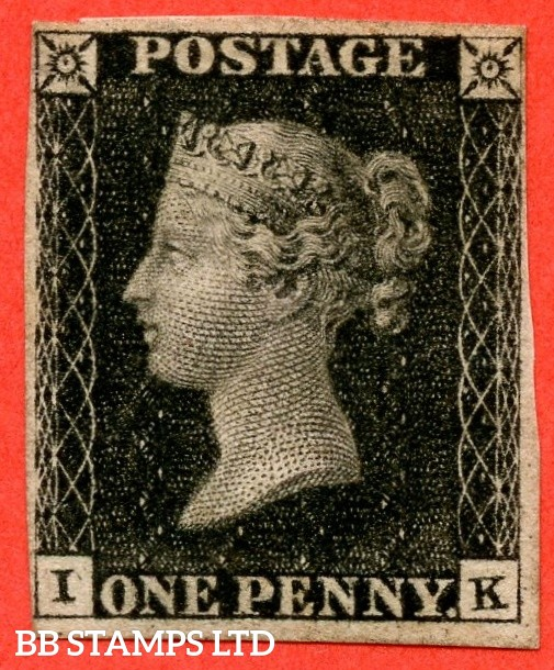 "SG. 2. A1 (2). AS41. "" IK "". 1d black. Plate 6. A fine mounted mint example with the "" Dot in and around lower corner squares. Marks in lower margin and bottom line extends left variety "" varieties. Complete with RPS certificate."