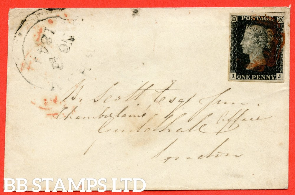 """SG. 2. A1 (2). AS41. """" IJ """". 1d black. Plate 6. A fine used example on cover used in LONDON dated 3rd November 1840. With the """" Dots in NE. SE and SW squares. Also scratches on lower margin """" varieties."""