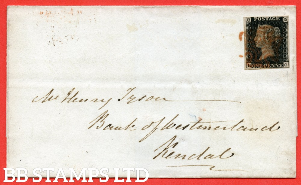 """SG. 2 c. A1 (2) h. AS41. """" HC """". 1d black. Plate 6. A good used example on cover from EDINBURGH to KENDAL dated 3rd February 1841. With the listed variety """" Vertical guide line NE & SE squares """"."""