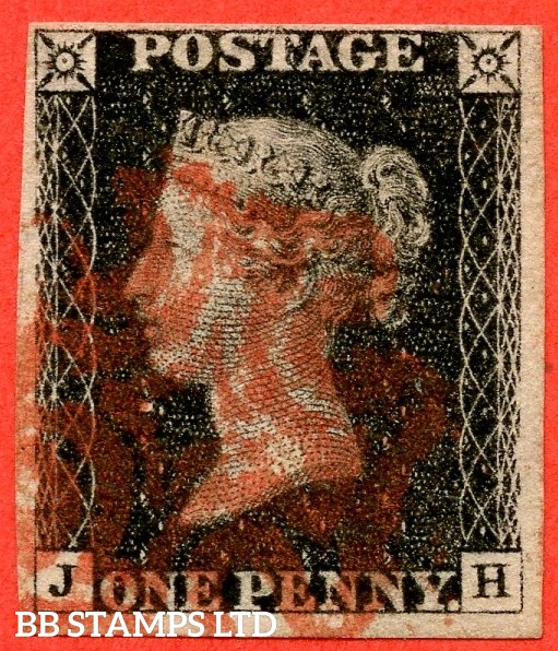 """SG. 2. A1 (2). AS41. """" JH """". 1d black. Plate 6. A fine used example cancelled by a red maltese cross. With the """" Dot in right margin outside top of SE square """" variety."""