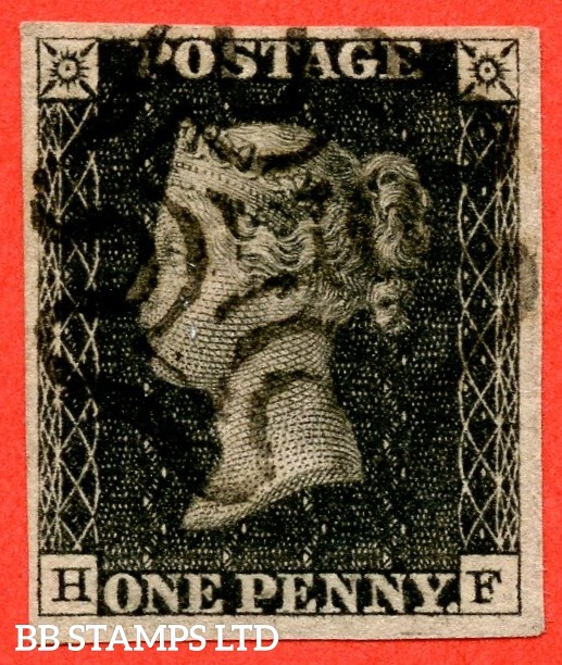 """SG. 2. A1 (2). AS41. """" HF """". 1d black. Plate 6. A very fine used example cancelled by a black maltese cross."""