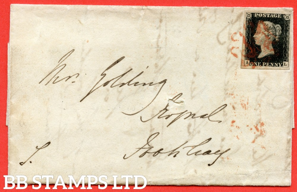 "SG. 2. A1 (2). AS41. "" AL "". 1d black. Plate 6. A fine used example on cover from HUNTINGDON to FOOTCRAY dated 30th September 1840. With the "" Tiny dots over ' A ' in SW square and dot on ' N ' of ' ONE ' "" varieties."