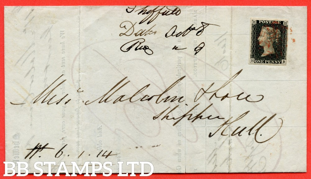 """SG. 2. A1 (2). AS41. """" HB """". 1d black. Plate 6. A fine used example on cover from SHEFFIELD to HULL dated 8th October 1840."""