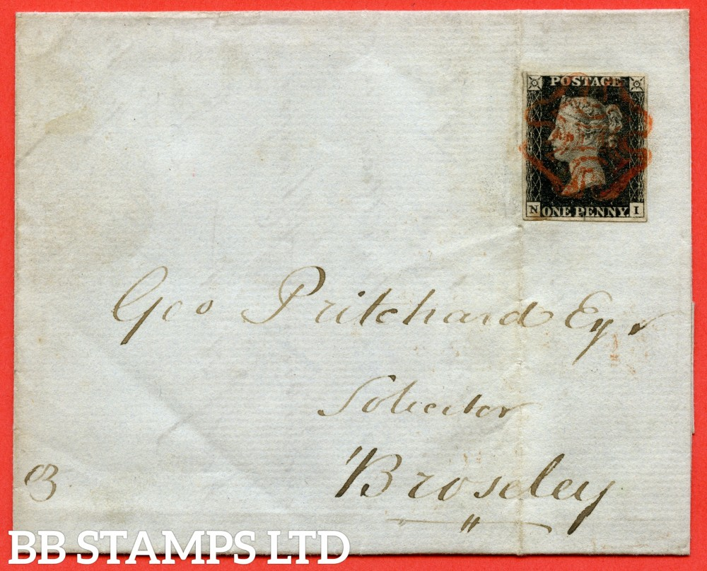 """SG. 2 c. A1 (2) h. AS41. """" NI """". 1d black. Plate 6. A fine used example on cover from CHESTER to BROSELEY dated 19th September 1840. With the listed variety """" Vertical guide line NE square """". Also """" Mark in SE square """" variety."""