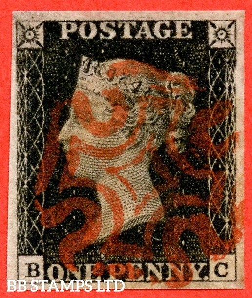 """SG. 2 c. A1 (2) h. AS41. """" BC """". 1d black. Plate 6. A very fine used example cancelled by a red maltese cross with the listed variety """" Vertical guide line NE square """". Also """" Mark in NW square """" variety."""