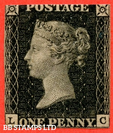 """SG. 2. A1 (2). AS41. """" LC """". 1d black. Plate 6. A mounted mint example with the """" Dot on ' G ' of ' POSTAGE ' """" variety."""