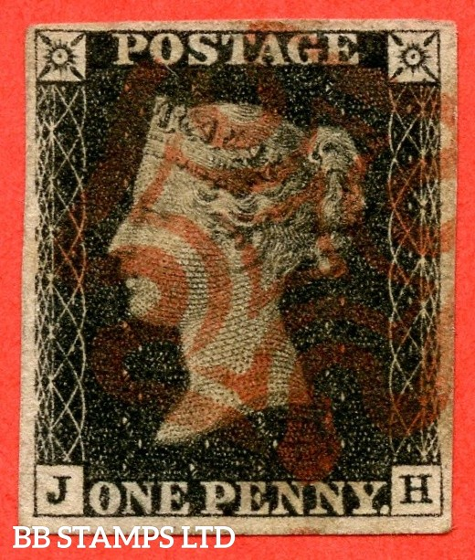 "SG. 2. A1 (2). AS41. "" JH "". 1d black. Plate 6. A fine used example cancelled by a red maltese cross. With the "" Dot in right margin outside top of SE square "" variety."