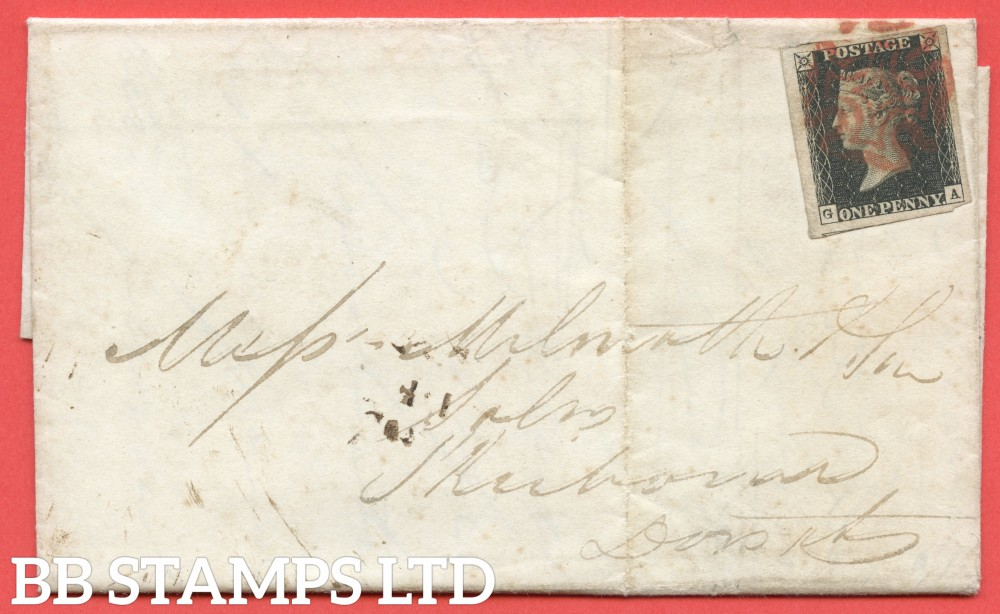 """SG. 2 c. A1 (2) h. AS41. """" GA """". 1d black. Plate 6. A fine used example on cover from LONDON to SHERBORNE dated 8th December 1840. With the listed variety """" Vertical guide line NE square """". Also """" ' G ' in SW square defective """" variety."""