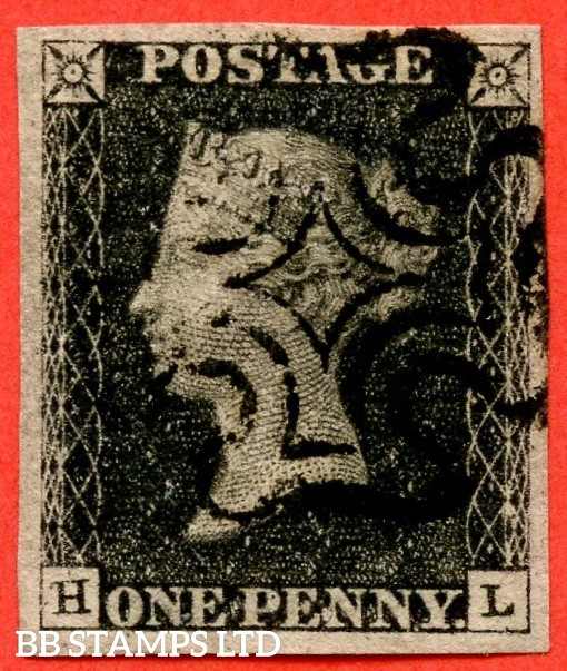 "SG. 2. A1 (2). AS41. "" HL "". 1d black. Plate 6. A very fine used example cancelled by a black maltese cross. With the "" Dot on ' P ' of ' PENNY '. Dots in SE and SW square. Dots in upper and lower right margins "" varieties."