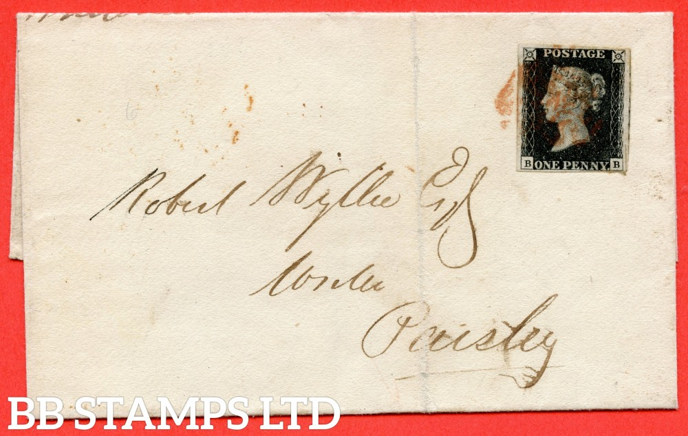 "SG. 2. A1 (2). AS41. "" BB "". 1d black. Plate 6. A fine used example on cover from GLASGOW to PAISLEY dated 28th December 1840. With the "" Bottom line extends right "" variety."
