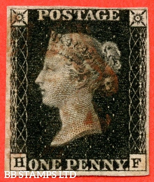 "SG. 2. A1 (2). AS41. "" HF "". 1d black. Plate 6. A good used example cancelled by a red maltese cross."