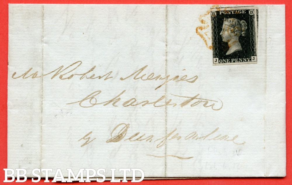 "SG. 2. A1 (2). AS41. "" JJ "". 1d black. Plate 6. A fine used example on cover from EDINBURGH to CHARLESTONE dated 6th February 1841. With the "" Dots in SW & SE squares and mark in ' O ' of ' POSTAGE ' "" varieties."