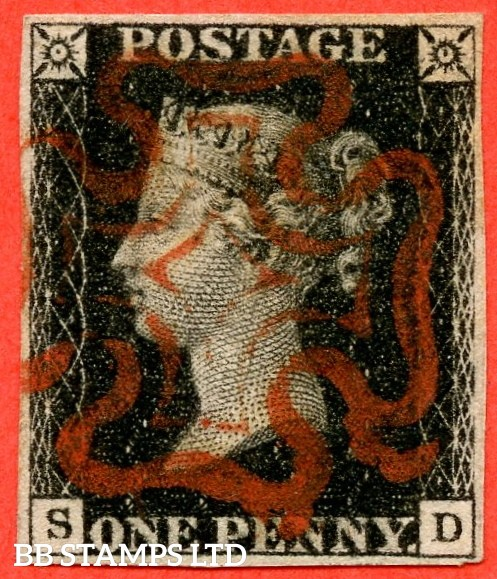 "SG. 2 d. A1 (2) i. AS41. "" SD "". 1d black. Plate 6. A very fine used example cancelled by a red maltese cross. With the listed variety "" Faint horizontal guide line through value ""."