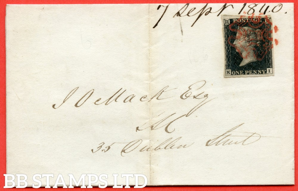 """SG. 2 c. A1 (2) h. AS41. """" KI """". 1d black. Plate 6. A fine used example on cover used in EDINBURGH dated 7th September 1840. With the listed variety """" Vertical guide line NE square """". Also """" Dot in SW square """" variety."""