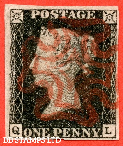 "SG. 2. A1 (2). AS44. "" QL "". 1d black. Plate 7. A very fine used example cancelled by a red maltese with the "" Guide dot in SE square "" variety."