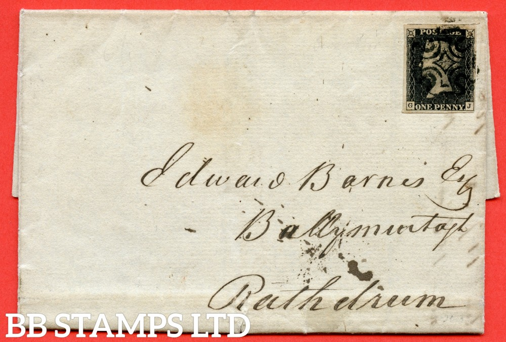 """SG. 2. A1 (2). AS44. """" GJ """". 1d black. Plate 7. A fine used example on cover from DUBLIN to RATHDRUM dated 28th June 1841. With the """" ' O ' flaw ( first stage ) """" variety."""