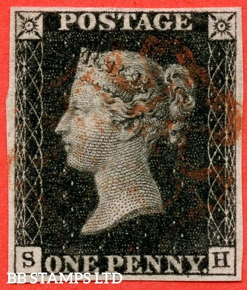"""SG. 2. A1 (2). AS44. """" SH """". 1d black. Plate 7. A fine used example cancelled by a red maltese cross  with the """" Right side line extends below and Horizontal mark on ' Y ' of ' PENNY ' """" varieties."""