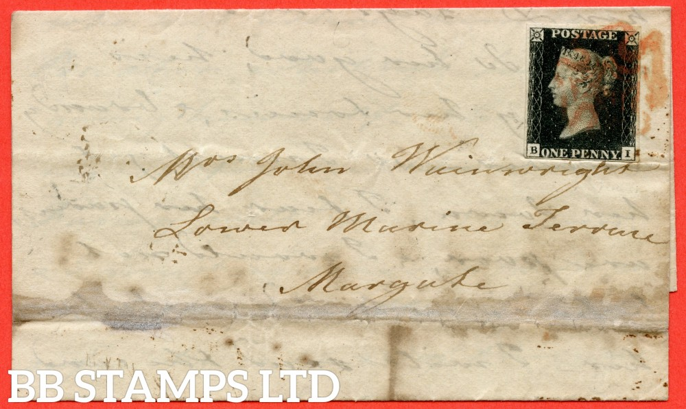 "SG. 2 c. A1 (2) h. AS44. "" BI "". 1d black. Plate 7. A fine used example on cover from LONDON to MARGATE dated 21st July 1840. With the listed "" Vertical guide line NE sq. "" variety. Also "" ' O ' flaw "" variety."