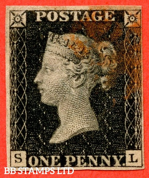"""SG. 2. A1 (2). AS44. """" SL """". 1d black. Plate 7. A fine used example cancelled by a red maltese cross  with the """" Guide dot touching outside of SE side line and ' L ' has lower left serif extending left """" varieties. Lovely clear profile."""