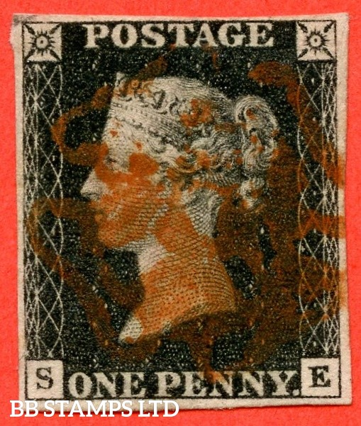 """SG. 2. A1 (2). AS44. """" SE """". 1d black. Plate 7. A good used example cancelled by a red maltese cross."""