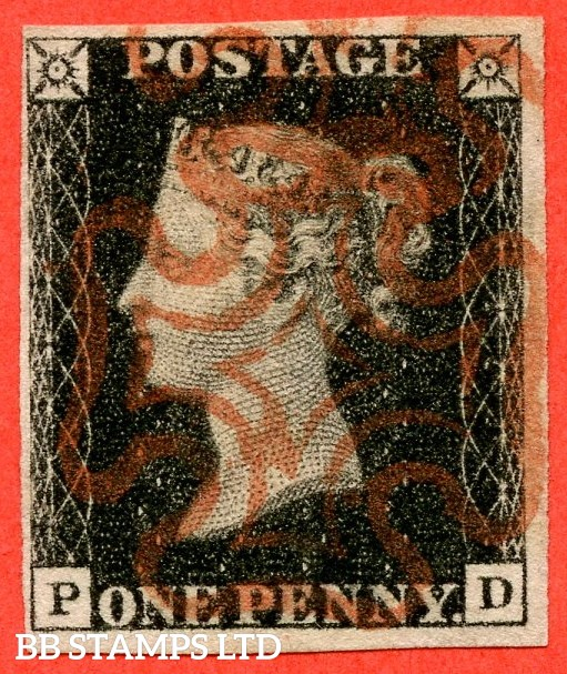 """SG. 2. A1 (2). AS44. """" PD """". 1d black. Plate 7. A very fine used example cancelled by a red maltese."""