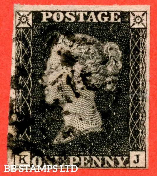 """SG. 2 d. A1 (2) i. AS44. """" KJ """". 1d black. Plate 7. A good used example cancelled by a black maltese with the listed variety """" Guide line through value """"."""
