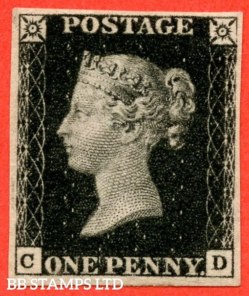 """SG. 2. A1 (2). AS44. """" CD """". 1d black. Plate 7. A very fine mounted mint example with the """" ' O ' flaw """" variety."""