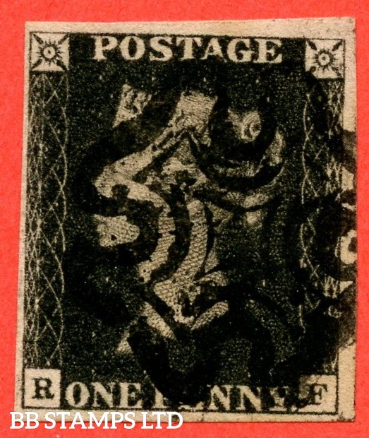"""SG. 1. A1 (1). AS44. """" RF """". 1d intense black. Plate 7. A good used example cancelled by a red maltese cross."""