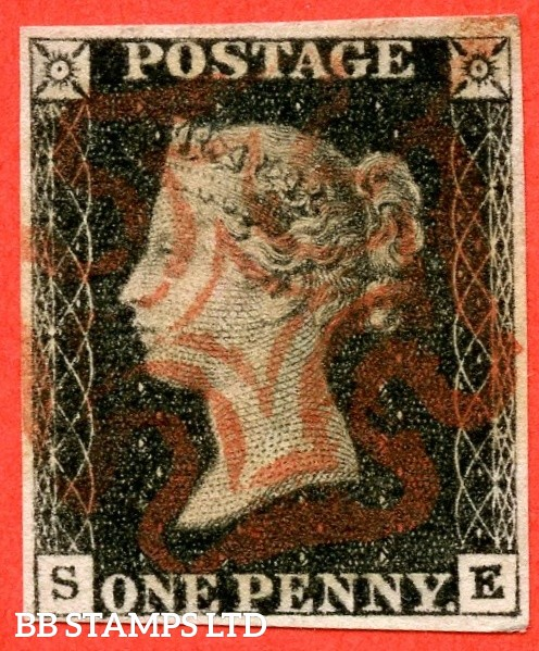 """SG. 2. A1 (2). AS44. """" SE """". 1d black. Plate 7. A very fine used example cancelled by a red maltese cross."""