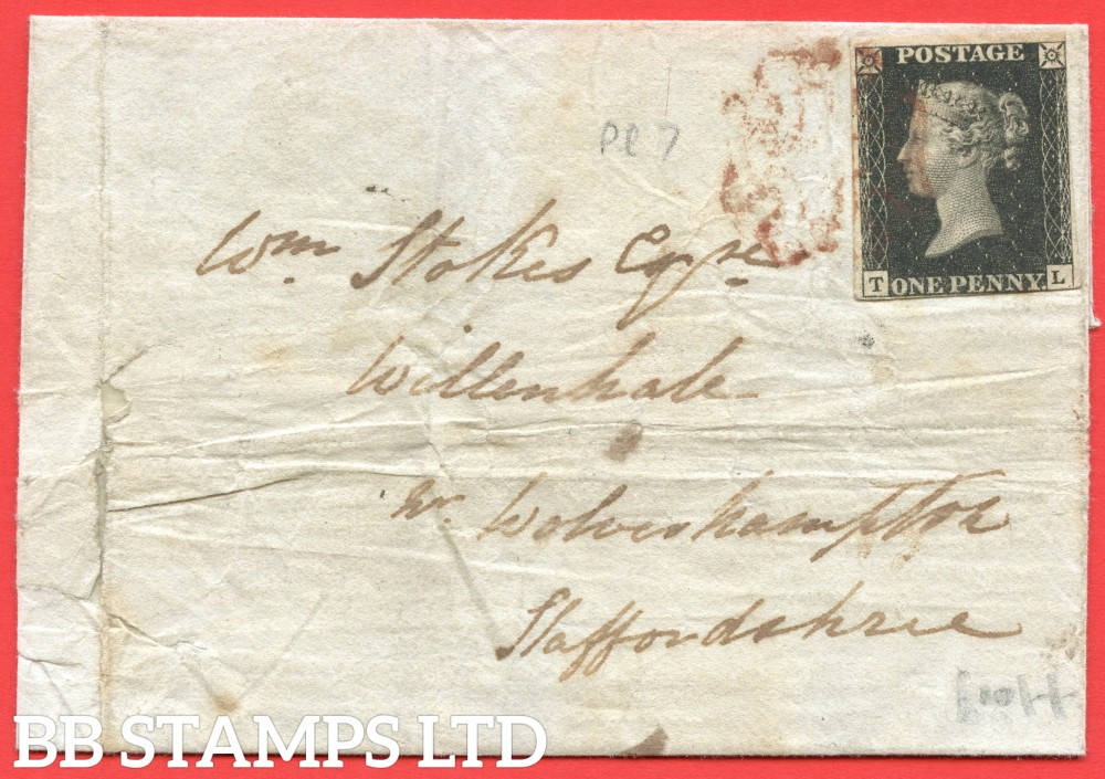 """SG. 2. A1 (2). AS44. """" TL """". 1d black. Plate 7. A fine used example on lcover from NEWCASTLE UNDER LYME to WILLENHALL dated 1st September 1840."""