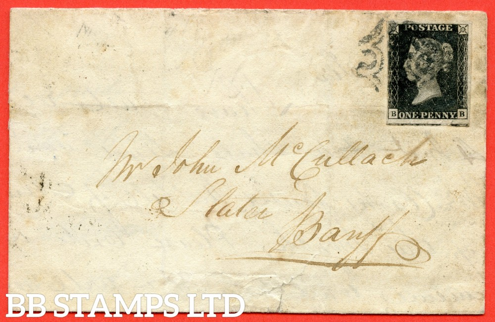 """SG. 2. A1 (2). AS44. """" BB """". 1d black. Plate 7. A fine used example on cover from ABERDEEN to BANFF dated 8th May 1841. With the """" ' O ' flaw """" variety."""