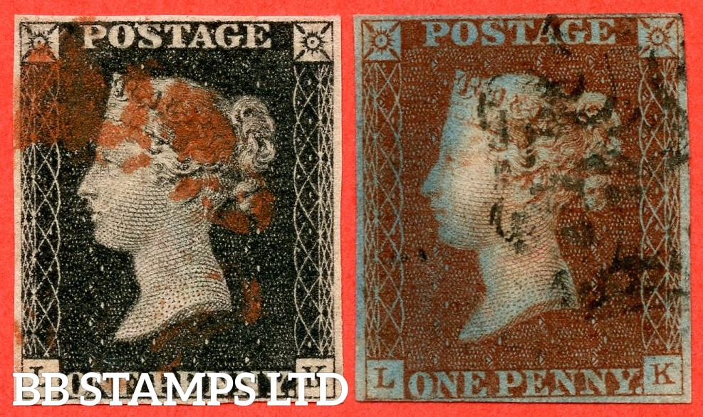 "SG. 2 & 7. A1 (2) & A2. AS46 & AS47. "" LK "". Plate 8. A good used matched pair both with the constant variety "" ' O ' flaw ""."